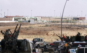 fighters keep near Sirte airport's entrance