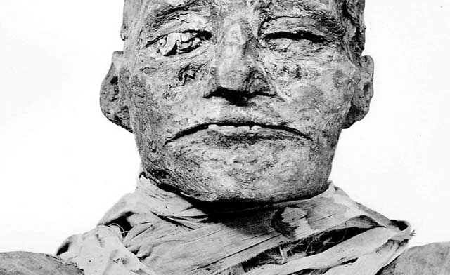 The mummified remains of Pharaoh Ramses III. The wrappings about his neck conceal a knife wound. Photo -couriermail