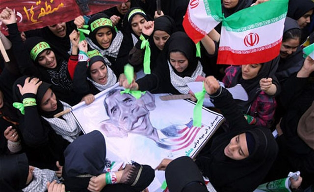 Iranians on revolution day chant 'death to America'