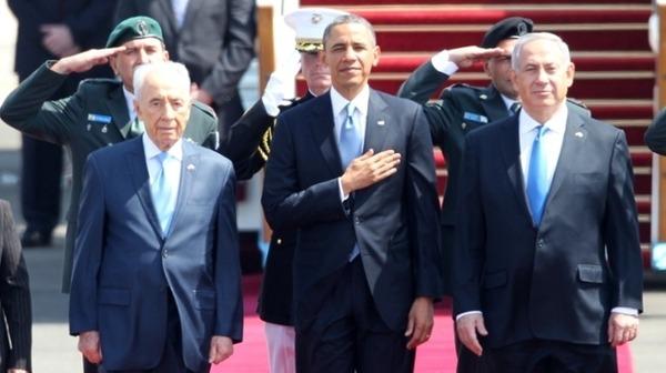 U.S. President Barack Obama Israeli Prime Minister Benjamin Netanyahu and President Shimon Peres AFP