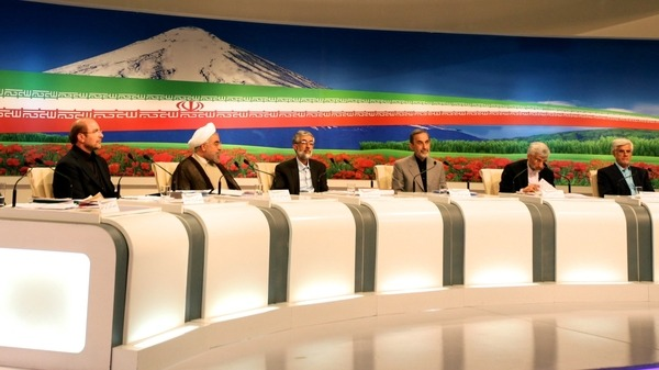 Iranian presidential candidates attend a live debate on state TV in Tehran AFP