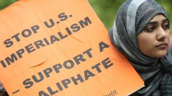 Muslims demonstrators from Hizb ut-Tahrir Britain File-AFP