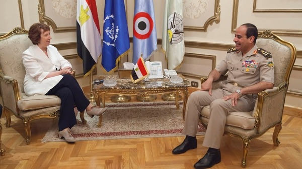 Egyptian army chief General Abdel Fattah al-Sisi R meets with EU foreign policy chief Catherine Ashton Reuters