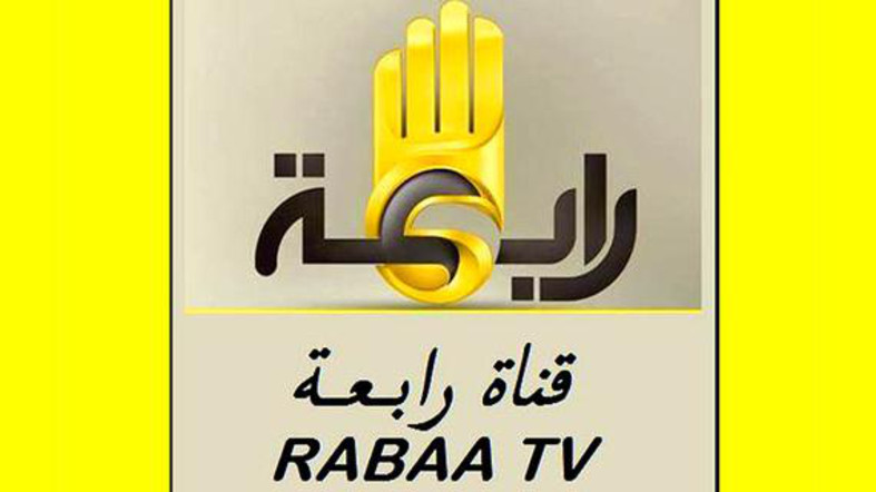 The station logo is the four-fingered Rabaa sign