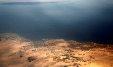 Aerial view of the two islands of Tiran and Sanafir -Reuters