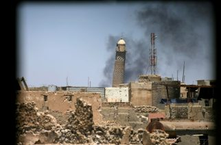 Smoke rises from Grand al-Nuri mosque in Mosul - Reuters